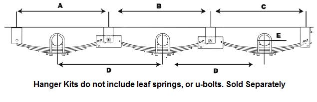"""Triple Axle Hanger Kit for 2"""" Slipper Springs / APTT6SE"""